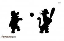Disney Pooh Playing Basketball Silhouette