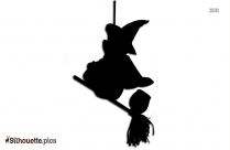 Winnie The Pooh On A Broom Silhouette