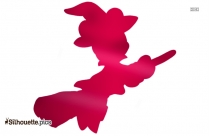 Witch Flying On Broomstick Silhouette