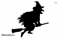Witch Flying Vector Silhouette