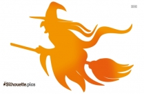 Witch On Broomstick Silhouette Vector