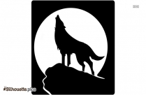 Wolf Howling At The Moon Silhouette Clipart