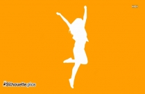 Happy Girl Jumping Silhouette Clipart