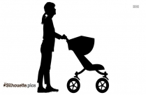 Woman With Baby Stroller Silhouette Picture