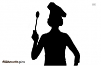 Woman With Spoon Silhouette Drawing