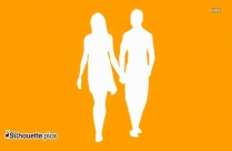 Young Couple Romancing Silhouette Vector