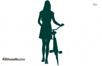 Young Girl With Bicycle Silhouette Icon