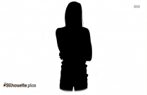 Young Woman Thinking Silhouette Drawing