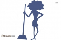 Young Women Cleaning Cartoon, Women With Broom Silhouette