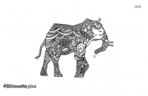 Zentangle Elephant Silhouette Clipart