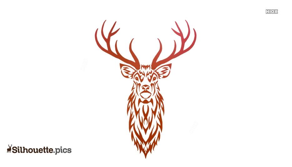 Tribal Deer Drawings Vector Silhouette