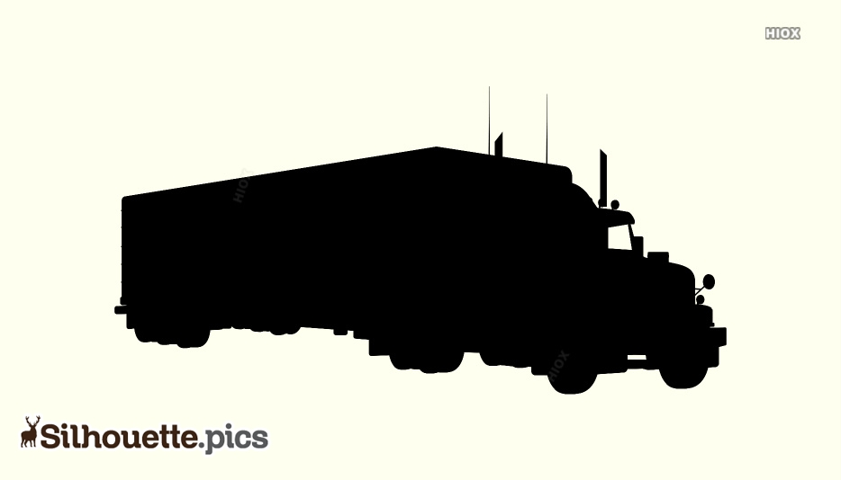 Big Long Container Truck Heavy Vehicle Silhouette Image