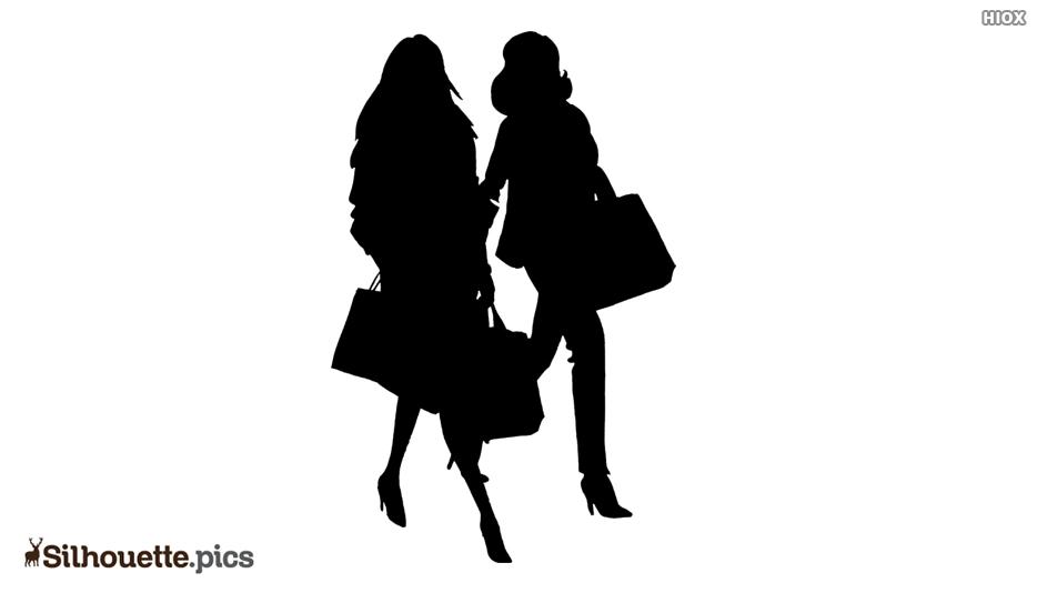 Two People Walking Silhouette