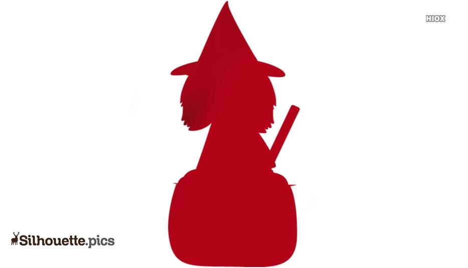 Witch Stirring Cauldron Silhouette